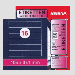 Selbstklebe-Etikettenbogen A4 – 105 x 37 mm – 16 Etiketten pro Blatt