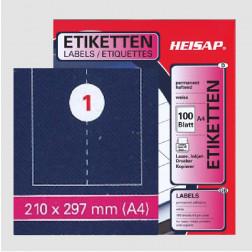 Selbstklebe-Bogen A4 – 210 x 297 mm – 1 Etikette pro Blatt