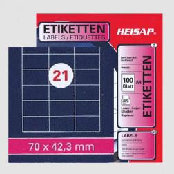 Selbstklebe-Etikettenbogen A4 – 70 x 42.3 mm – 21 Etiketten pro Blatt