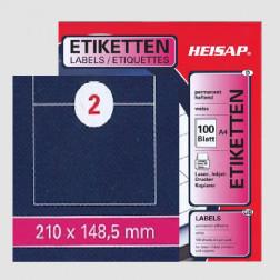 Selbstklebe-Etikettenbogen A4 – 210 x 148 mm – 2 Etiketten pro Blatt