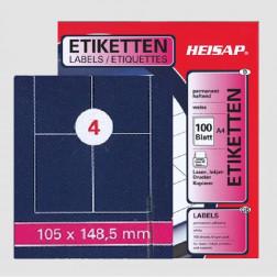 Selbstklebe-Etikettenbogen A4 – 105 x 148 mm – 4 Etiketten pro Bogen