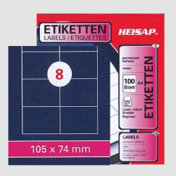 Selbstklebe-Etikettenbogen A4 – 105 x 74 mm – 8 Etiketten pro Blatt