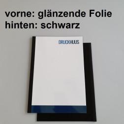 Broschüre Fastback-Bindung - mit Folie glanz 0,2 mm, Rückkarton Schwarz