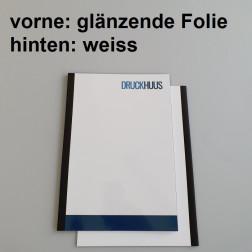 Broschüre Fastback-Bindung - mit Folie glanz 0,2 mm, Rückkarton Weiss
