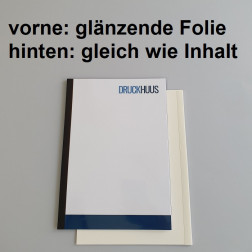 Broschüre Fastback-Bindung - mit Folie glanz 0,2 mm, Rückkarton im gleichen Material wie der Inhalt (in stabiler Qualität)