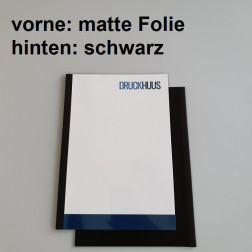 Broschüre Fastback-Bindung - mit Folie matt 0,2 mm, Rückkarton Schwarz