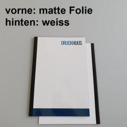 Broschüre Fastback-Bindung - mit Folie matt 0,2 mm, Rückkarton Weiss