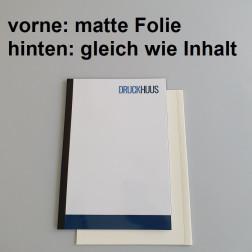 Broschüre Fastback-Bindung - mit Folie matt 0,2 mm, Rückkarton im gleichen Material wie der Inhalt (in stabiler Qualität)