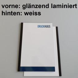 Broschüre Fastback-Bindung - Deckblatt glänzend laminiert (erstes Blatt von Dokument), Rückkarton Weiss