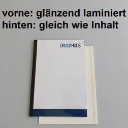 Broschüre Fastback-Bindung - Deckblatt glänzend laminiert (erstes Blatt von Dokument), Rückkarton im gleichen Material wie der Inhalt (in stabiler Qualität)