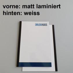 Broschüre Fastback-Bindung - Deckblatt matt laminiert (erstes Blatt von Dokument), Rückkarton Weiss