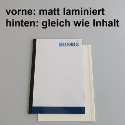 Broschüre Fastback-Bindung - Deckblatt matt laminiert (erstes Blatt von Dokument), Rückkarton im gleichen Material wie der Inhalt (in stabiler Qualität)