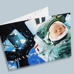 Geburtskarte Space A6 gefaltet