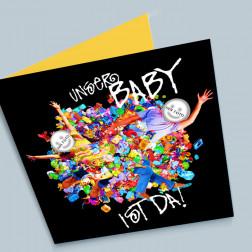 Geburtskarte Spielsachen 140x140mm gefaltet