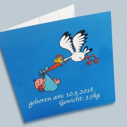 Geburtskarte Storch 140x140mm gefaltet