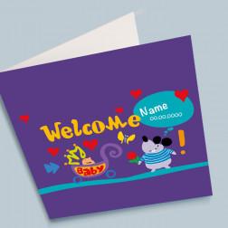 Geburtskarte Welcome Baby 140x140mm gefaltet