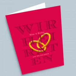 Hochzeitskarte Ringe A6 gefaltet