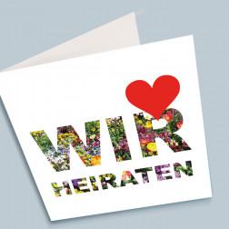 """Hochzeitskarte """"Wir heiraten"""" 140x140mm gefaltet"""