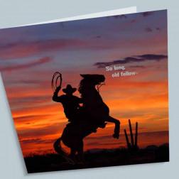 Trauerkarte Cowboy 140x140mm gefaltet