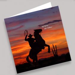 Trauerkarten Cowboy 140x140mm gefaltet