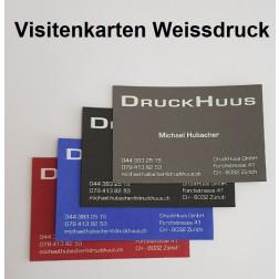 Visitenkarten Weissdruck (auf buntem Papier)