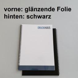 Broschüre Wiro-Bindung - mit Folie glanz 0,2 mm, Rückkarton Schwarz