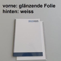 Broschüre Wiro-Bindung - mit Folie glanz 0,2 mm, Rückkarton Weiss