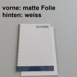 Broschüre Wiro-Bindung - mit Folie matt 0,8 mm, Rückkarton Weiss