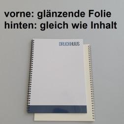 Broschüre Wiro-Bindung - mit Folie glanz 0,2 mm, Rückkarton im gleichen Material wie der Inhalt (in stabiler Qualität)