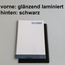 Broschüre Wiro-Bindung - Deckblatt glänzend laminiert (erstes Blatt von Dokument), Rückkarton Schwarz