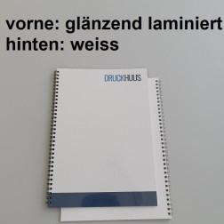 Broschüre Wiro-Bindung - Deckblatt glänzend laminiert (erstes Blatt von Dokument), Rückkarton Weiss