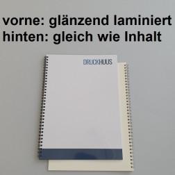 Broschüre Wiro-Bindung - Deckblatt glänzend laminiert (erstes Blatt von Dokument), Rückkarton im gleichen Material wie der Inhalt (in stabiler Qualität)