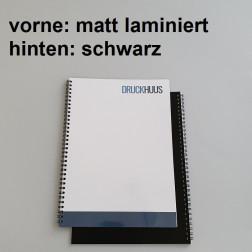 Broschüre Wiro-Bindung - Deckblatt matt laminiert (erstes Blatt von Dokument), Rückkarton Schwarz
