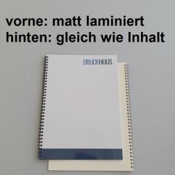 Broschüre Wiro-Bindung - Deckblatt matt laminiert (erstes Blatt von Dokument), Rückkarton im gleichen Material wie der Inhalt (in stabiler Qualität)
